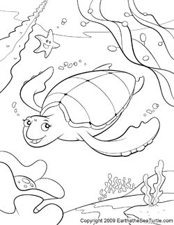 Sea Turtle Coloring Pages - Eartha The Sea Turtle
